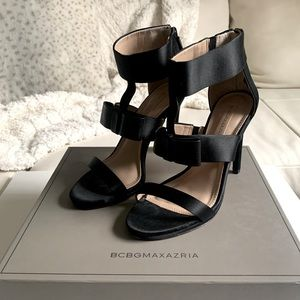 """BCBG """"Gale"""" Satin and Leather Heels"""
